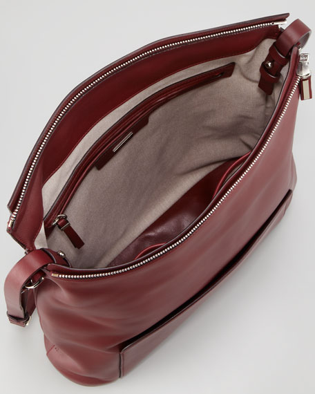 Leather Crossbody Bag, Plum