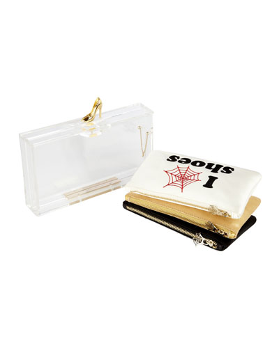 Pandora Loves Shoes Perspex Clutch & Pouch Set