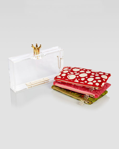 Pandora Royal Crown-Clasp Perspex Clutch & Pouch Set