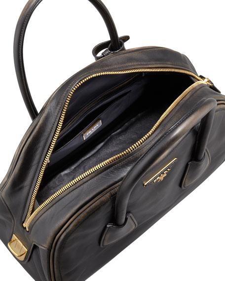 Vintage Vitello Bowler Bag, Black (Nero)