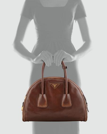 Vintage Vitello Bowler Bag, Brown (Bruciato)