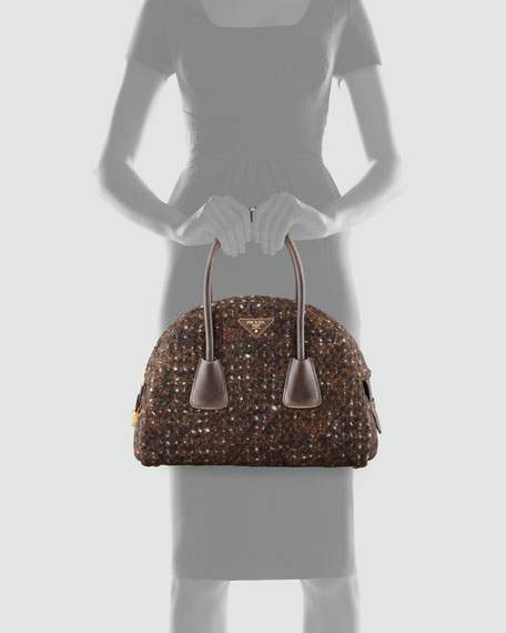 Boucle Vintage Bowler Bag, Brown