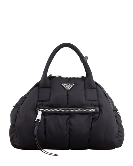 Tessuto Small Domed Tote Bag, Black