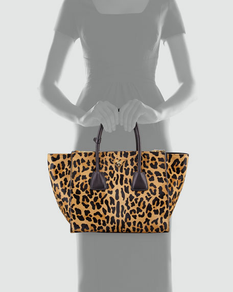 prada small leather leopard-print calf hair twin pocket tote