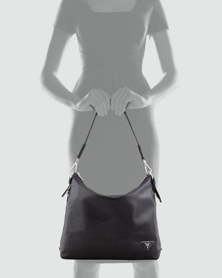 Soft Calf Zip-Top Hobo Bag, Black (Nero)