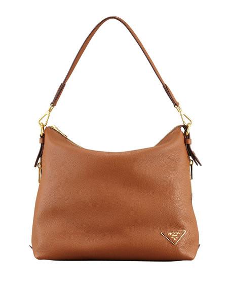 Daino Zip-Top Zip-Side Hobo Bag, Light Brown