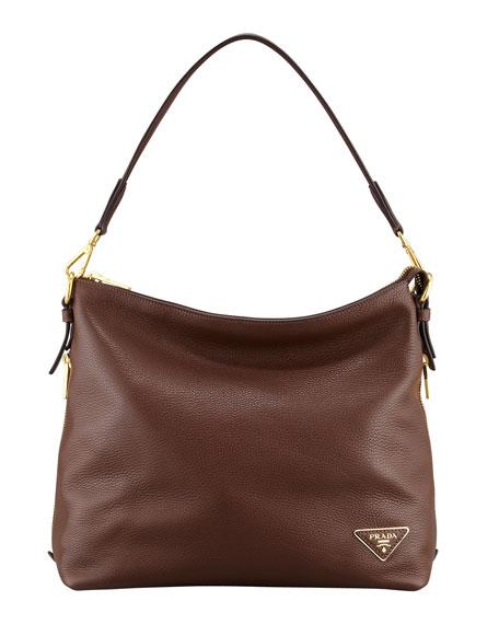 Daino Zip-Top Zip-Side Hobo Bag, Brown