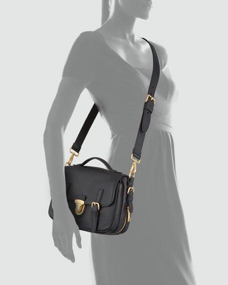 Daino Flap-Lock Messenger Bag, Black (Nero)