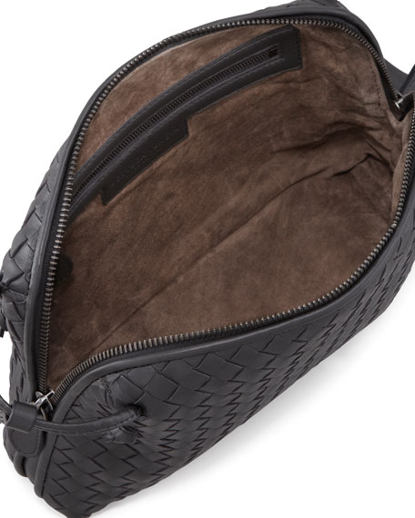Intrecciato Messenger Bag, Charcoal