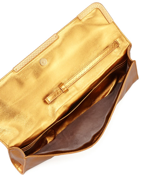Metallic East-West Snake Clutch Bag, Gold