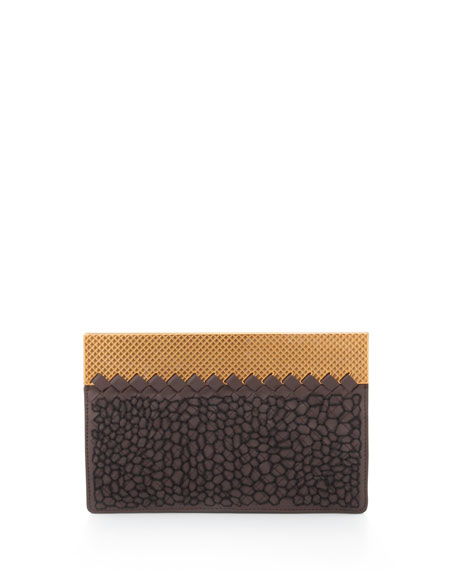 Embroidered Woven Leather Clutch Bag, Dark Brown