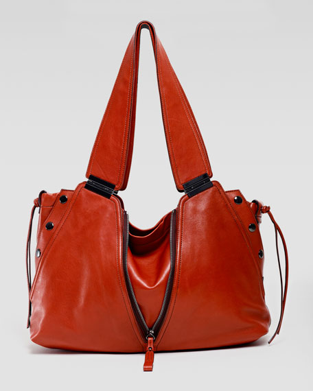 Kiera Leather Satchel Shoulder Bag, Red