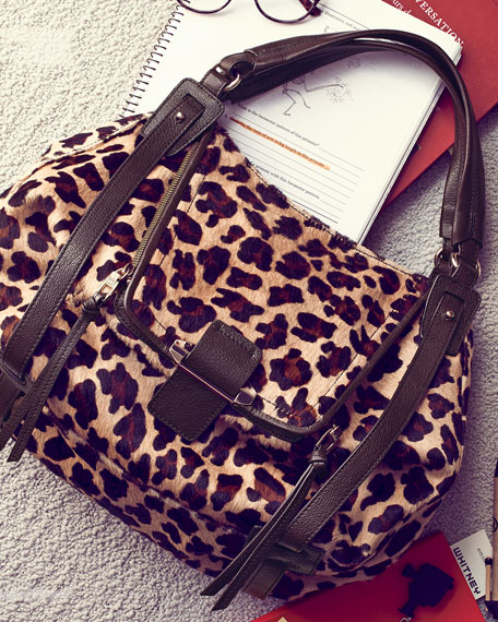 Jonnie Leopard-Print Calf Hair Hobo Bag