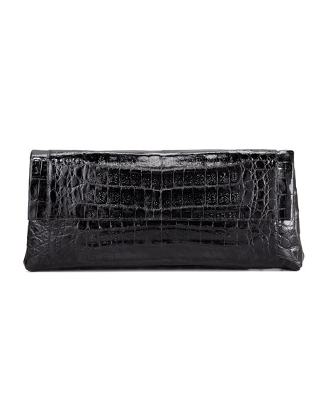 Crocodile Flap-Front Clutch Bag, Black