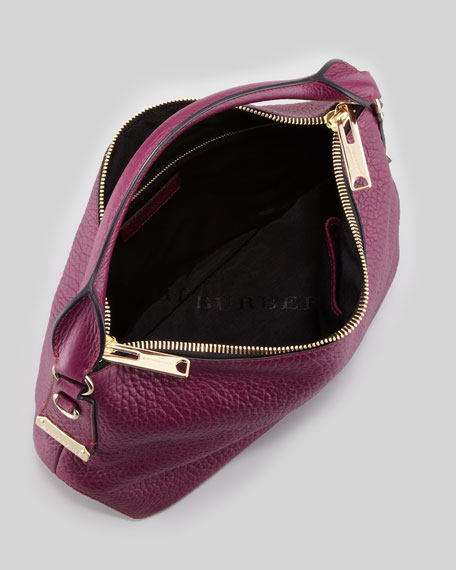 Pebbled Leather Hobo Bag, Wine