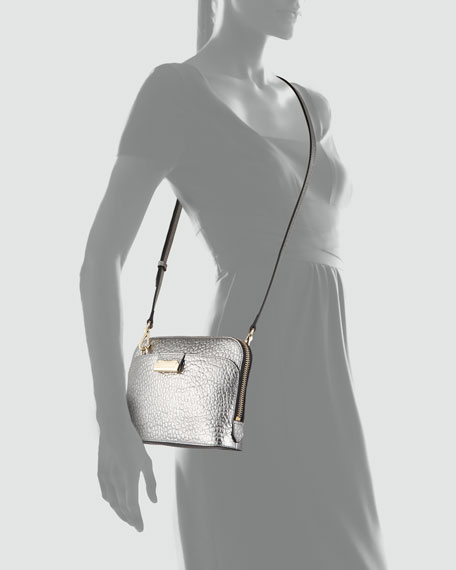 Pebbled Leather Crossbody Bag, Silver