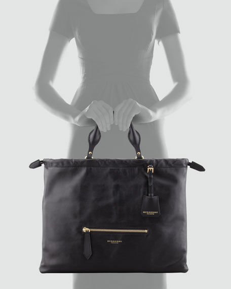 Drawstring Leather Satchel Bag, Black