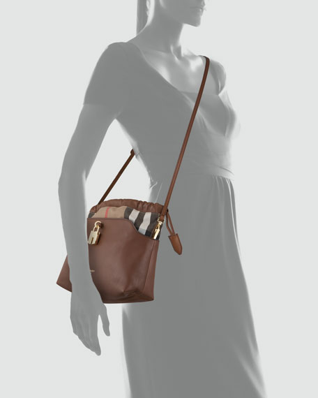 Drawstring Check Crossbody Bag, Brown