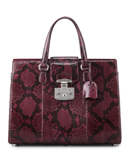 Gucci Lady Lock Python Medium Tote, Wine