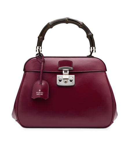 Lady Lock Leather Medium Top Handle Bag, Wine
