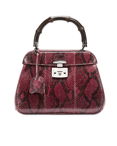 Gucci Lady Lock Python Medium Top Handle Bag, Wine