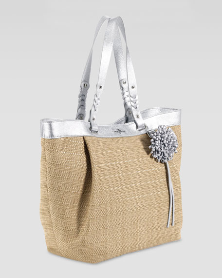 Bedford East-West Tote Bag, Silver/Natural