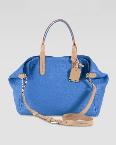 Small Crosby Leather Shopper, Blue