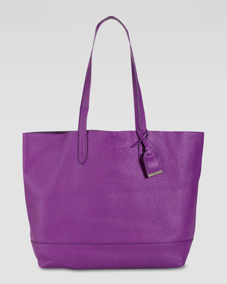 Haven Pebbled Leather Tote Bag, Purple