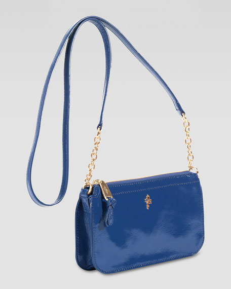 Jitney Patent Zip-Top Crossbody Bag, Blue