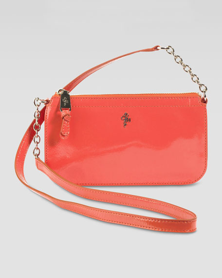 Jitney Patent Zip-Top Crossbody Bag, Orange