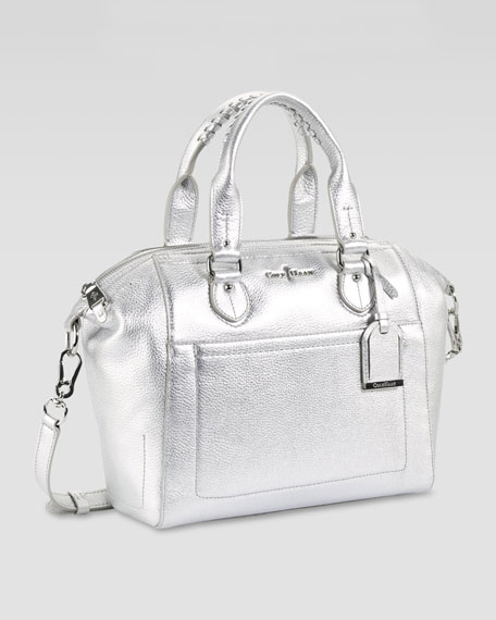 Linley Small Structured Satchel Bag, Silver