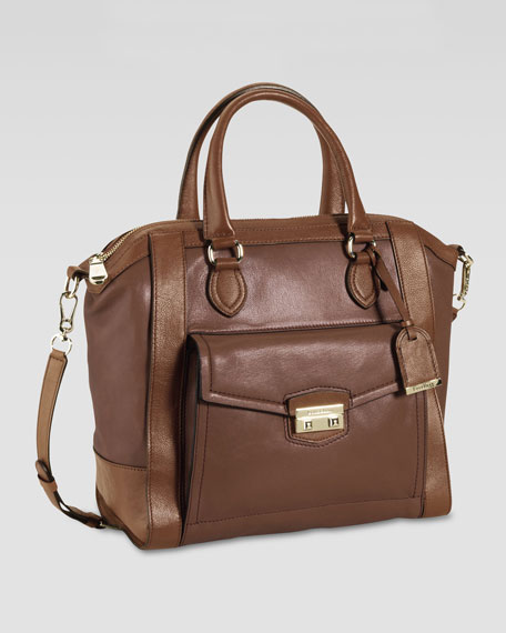 Zoe Structured Leather Satchel, Brown