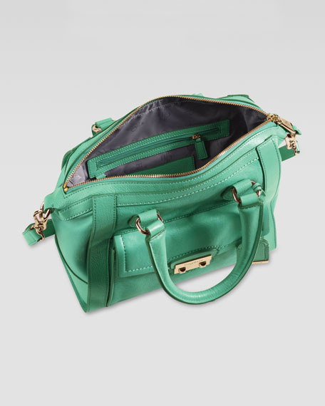 Zoe Small Structured Leather Satchel, Green