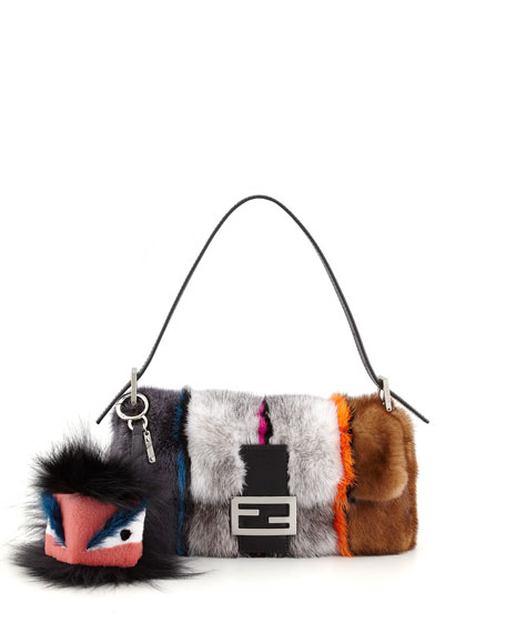 Baguette Striped Mink Fur Bag, Multicolor