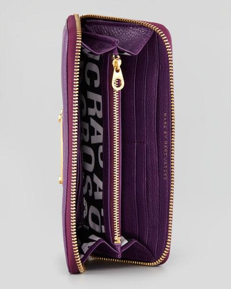 Classic Q Slim Zip-Around Wallet, Purple