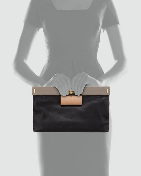 East End Lady Rei Colorblock Turn-Lock Clutch Bag, Black