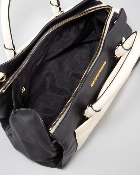 Know When to Fold'Em Jina Satchel Bag, Black/White