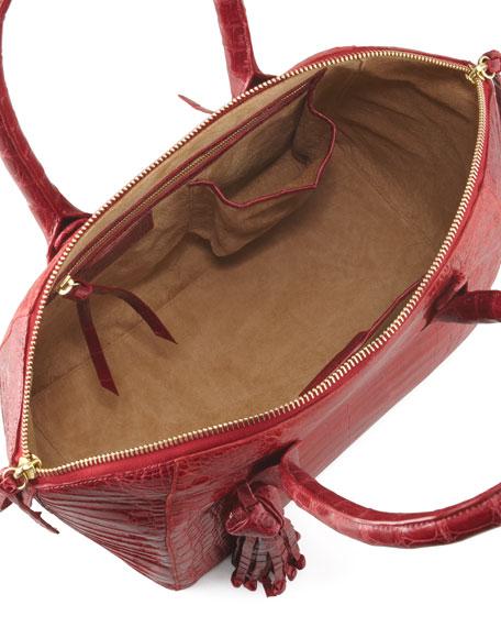 Crocodile Zip Tote Bag with Tassel, Red