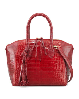 Crocodile Zip Tote Bag with Tassel, Red