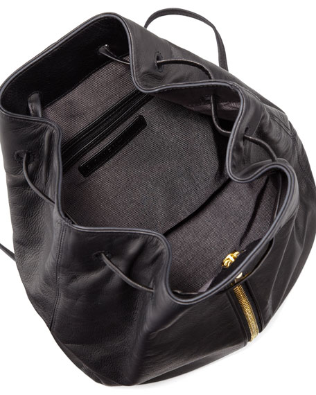Leather Drawstring Backpack, Black