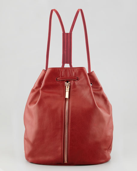 Leather Drawstring Backpack, Red