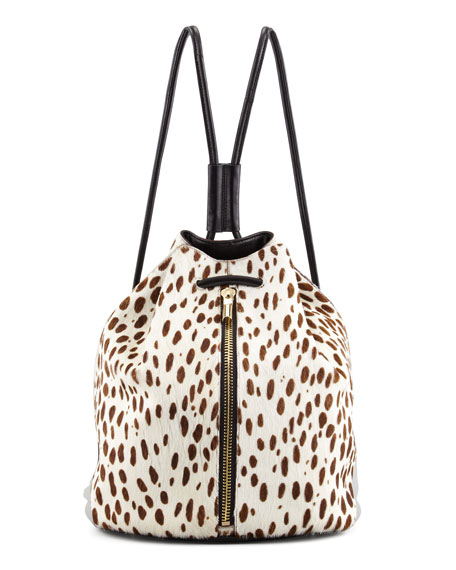 Spotted Calf Hair Drawstring Backpack