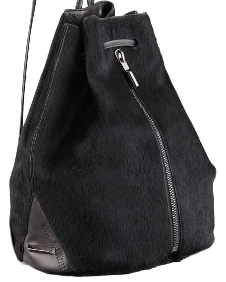 Calf Hair Drawstring Backpack