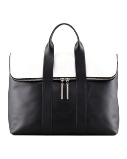 3.1 Phillip Lim 31-Hour Fold-Over Tote Bag, Black/White