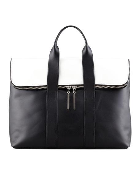 31-Hour Fold-Over Tote Bag, Black/White