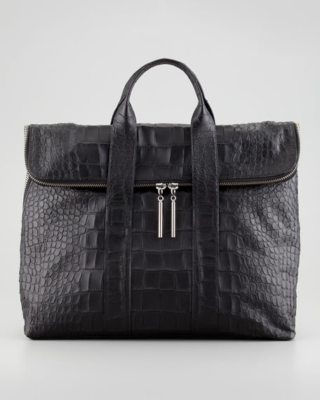 31-Hour Snake-Embossed Bag, Black