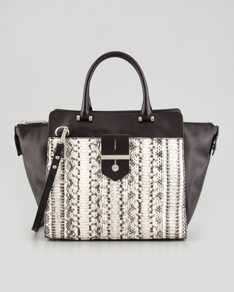 Makene Snakeskin Tote Bag, Black/White