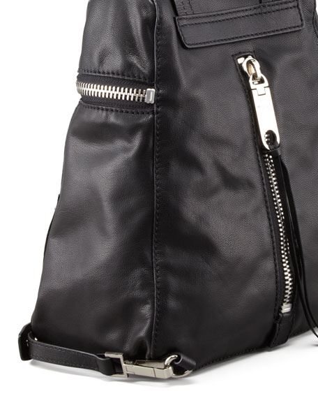 Riley Leather Backpack, Black