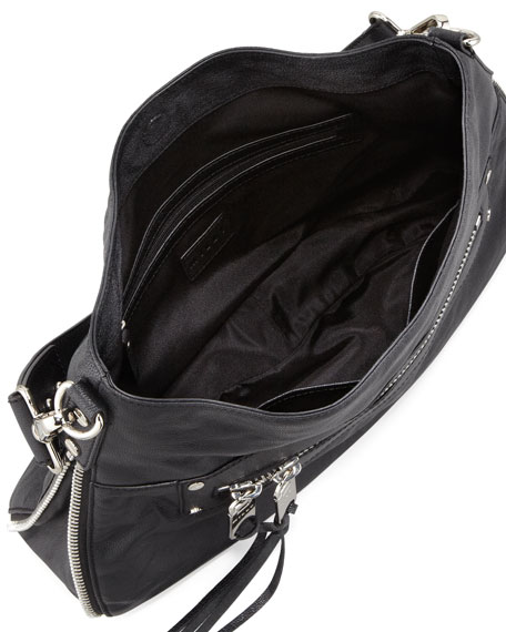 Riley Zippered-Leather Bucket Bag, Black
