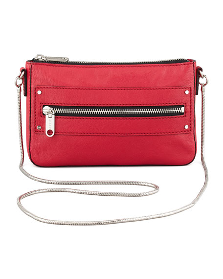Riley Goatskin Crossbody Mini Bag, Red